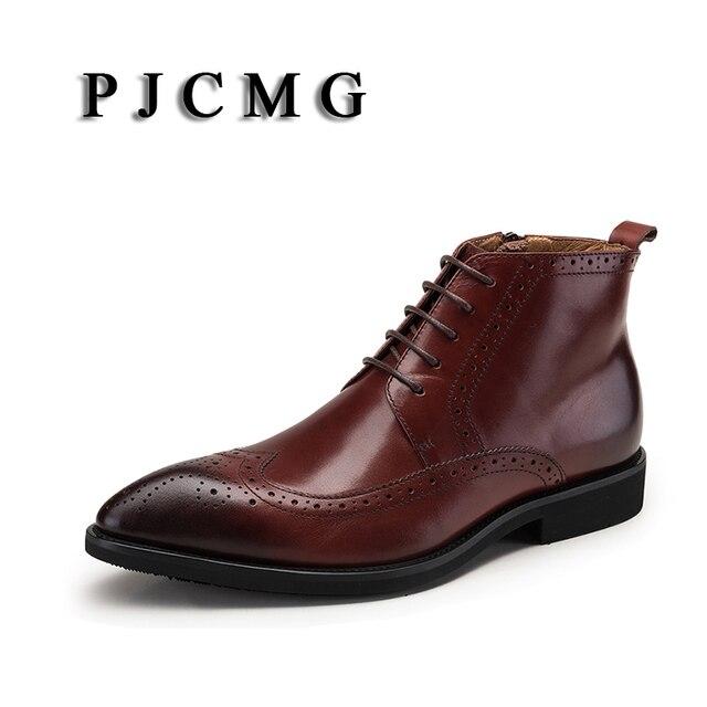 PJCMG Yüksek Kaliteli Erkek Botları Siyah/Kırmızı Dantel-up Ayak Bileği Kauçuk Rahat Hakiki Deri Klasik Iş Ofis Resmi erkek Botları