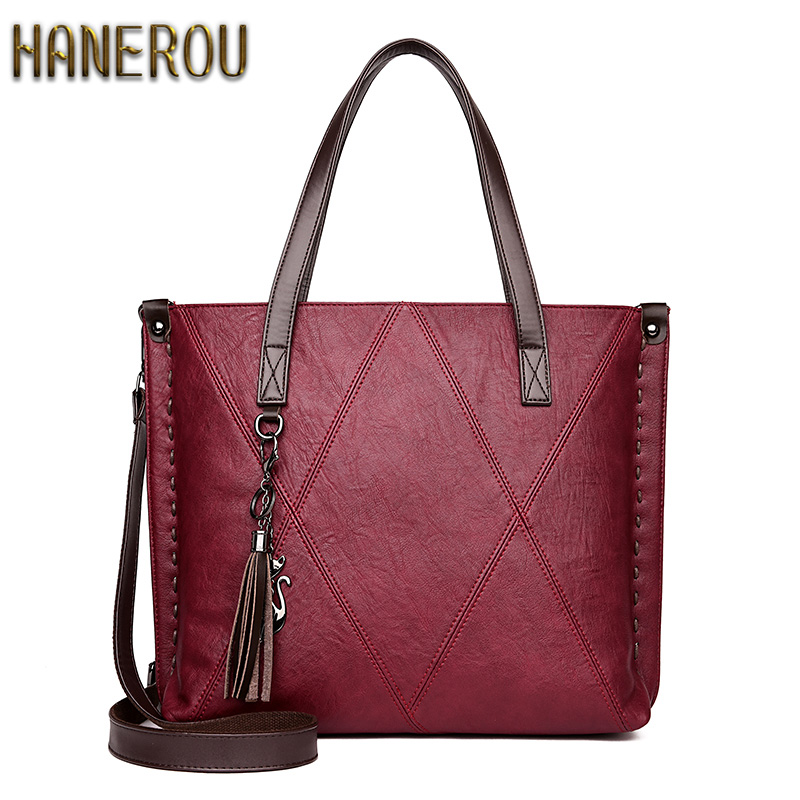 Handbag Women Luxury 2018 Fashion Bags Handbags Women Famous Brands PU Leather Shoulder Bag Dames Tassen Large Capacity Tote Bag 2pcs set pu leather women handbags famous brand star tassel women bags large capacity tote bag luxury elegant handbag leather