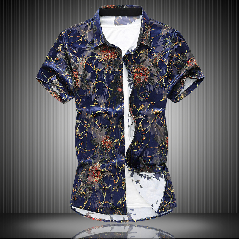 2019 Men Silky flannel floral printed Short sleeve shirts Hawaiian vacation Party casual shirt camisa masculina Plus Size 7XL(China)