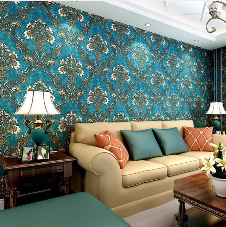 23 87 45 De Reduction Vintage Style Europeen Non Tisse Fleurs Damasse Papier Peint Bleu Marine 3d Papier Peint Salon Chambre Papier Peint Pour Murs