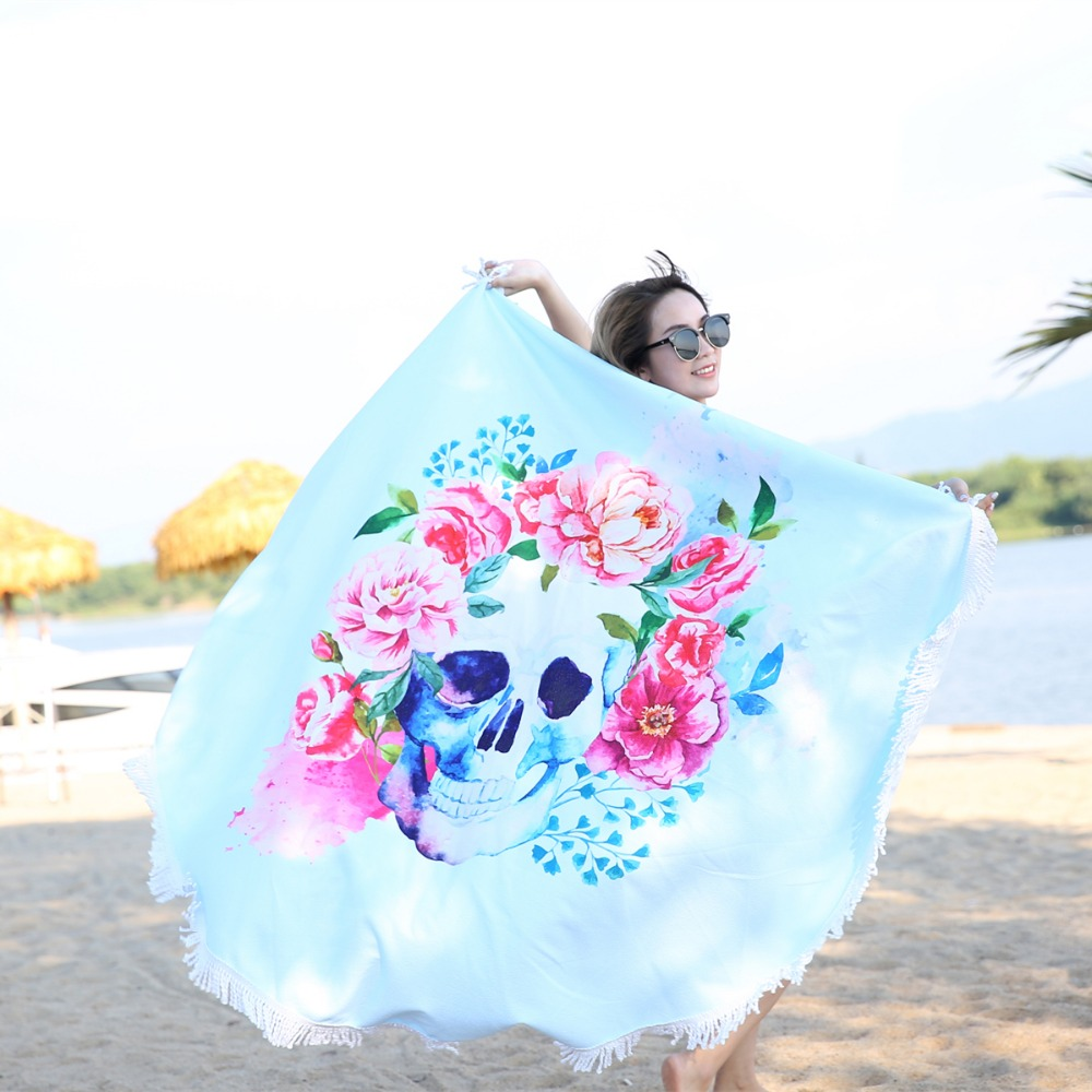 Cilected Skull Flower Large Tassel Sport Towels Summer Throw ...