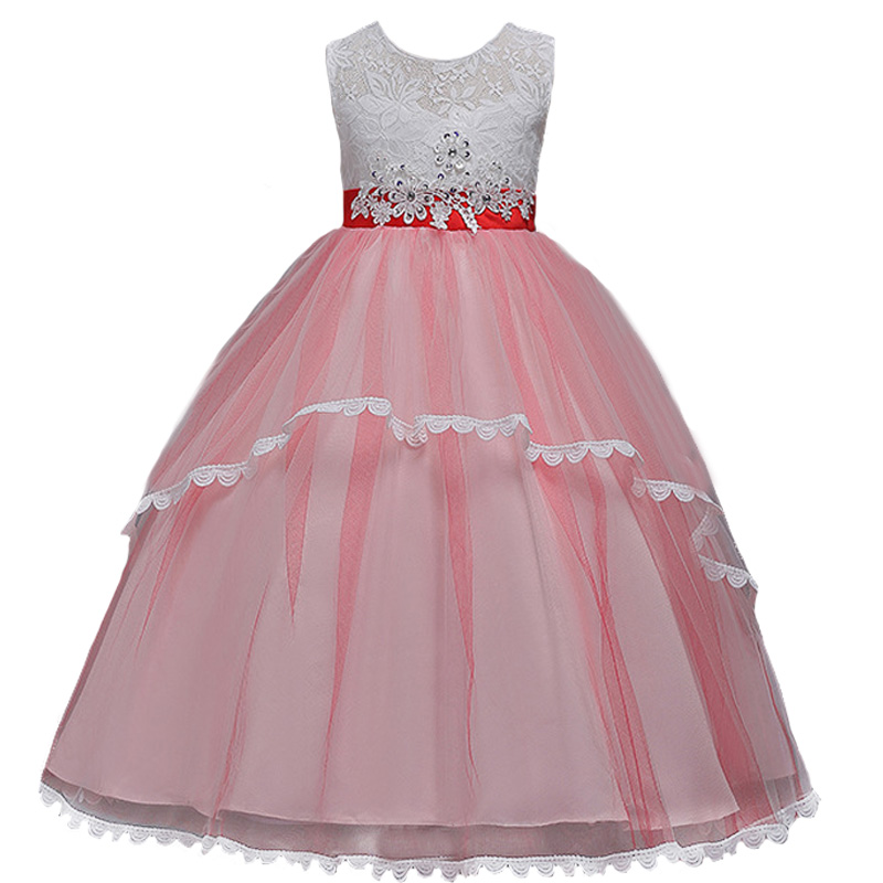 New Flower Girls Dress Diamond Sequin Lace Dress for Party Wedding Girl Christmas Princess Ball Kids Floor Long Prom Costumes kids girls bridesmaid wedding toddler baby girl princess dress sleeveless sequin flower prom party ball gown formal party xd24 c