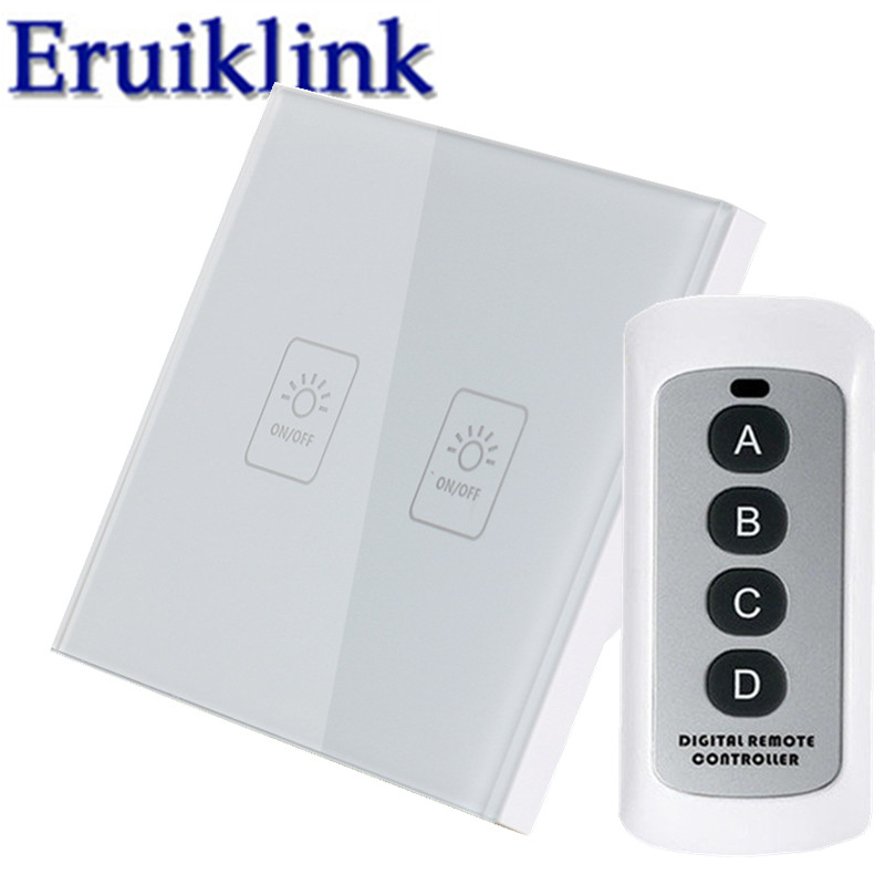 EU/UK Standard Touch Switch,1/2/3 Gang 1 Way White Glass Panel Light Wireless Remote Control Wall Switches for RF433 Smart Home