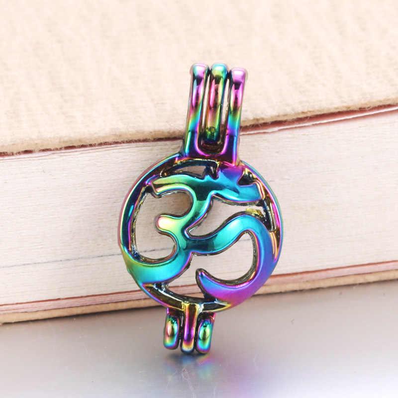 6 ชิ้น/ล็อต 16 รูปแบบสายรุ้งสี Pearl Cage Bead Cage น้ำมันหอมระเหย Diffuser Locket จี้เครื่องประดับ DIY ทำ Oyster pearl