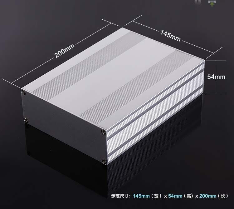 Caja de aluminio caja eléctrica del proyecto tipo split recinto Shell 145x54x200mm DIY amplificador caja de distribución