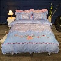 10 конструкции Принцесса хлопок приятный Вышивка аппликация Постельное белье Набор пододеяльников для пуховых одеял постельное белье лист