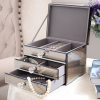 Nordic Drawer Makeup Organizer Glass Jewelry Storage Box Earrings Necklace Desktop finishing Valentine's Day Present Decoration