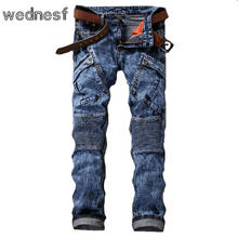 #1946 Известный бренд мужчины Jogger джинсы Мода Мото джинсы Slim fit Снег Мыть Тощий Панк Мужские байкерские джинсы Pantalon homme