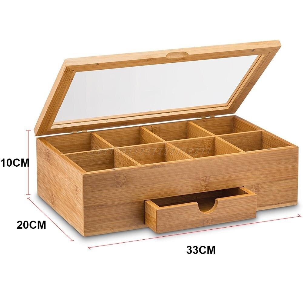 Boîte à thé en bambou avec petit tiroir 100% idée cadeau de thé en bambou naturel Je06 19 livraison directe