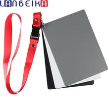 ملحقات الكاميرا حجم كبير (17*12 سنتيمتر) الرقمية أبيض أسود رمادي بطاقات التوازن 18% بطاقة رمادية مع حزام الرقبة للتصوير الرقمي