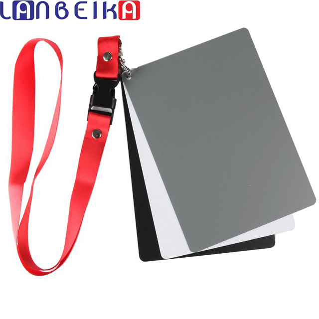 Camera Accessory Big Size(17*12cm) Digital White Black Grey Balance Cards 18% Gray Card with Neck Strap for Digital Photography