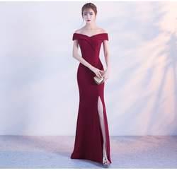 Бордовое вечернее платье с открытыми плечами для девочек, платье для свадебной вечеринки, платье для выпускного вечера, Длинные свадебные