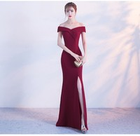 Off Shoulder Burgundy Evening Dress Girls Wedding Party Dress Prom Gown Dubai Long Zipper Bridal Dresses slit Robe De Soiree