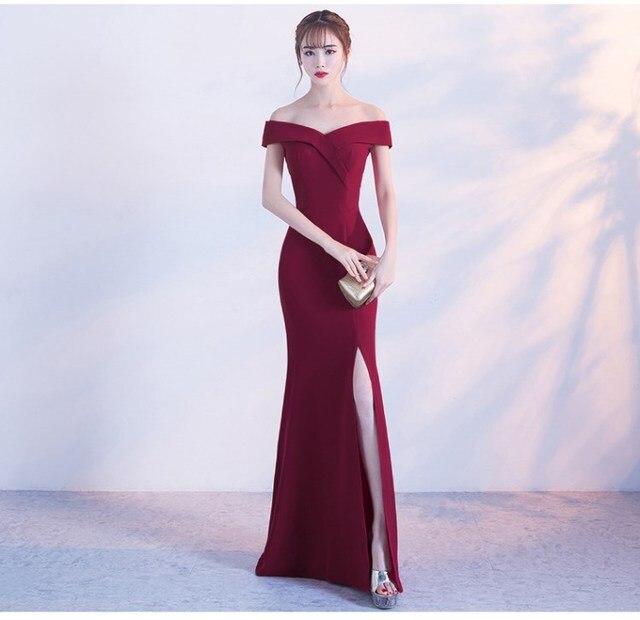 Off כתף בורגונדי שמלת ערב בנות מסיבת חתונת שמלת נשף שמלת דובאי ארוך רוכסן כלה שמלות סדק Robe דה Soiree