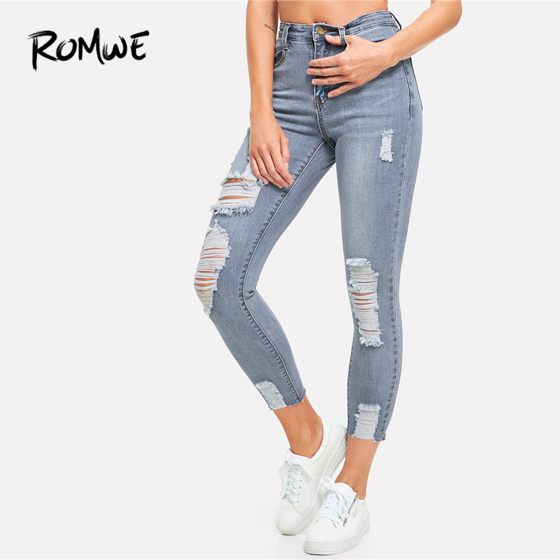 ROMWE Ripped Bleach Wash Skinny   Jeans   2019 New Design Mid Waist Solid Women Trousers Casual Stylish Blue Zipper Fly Pans