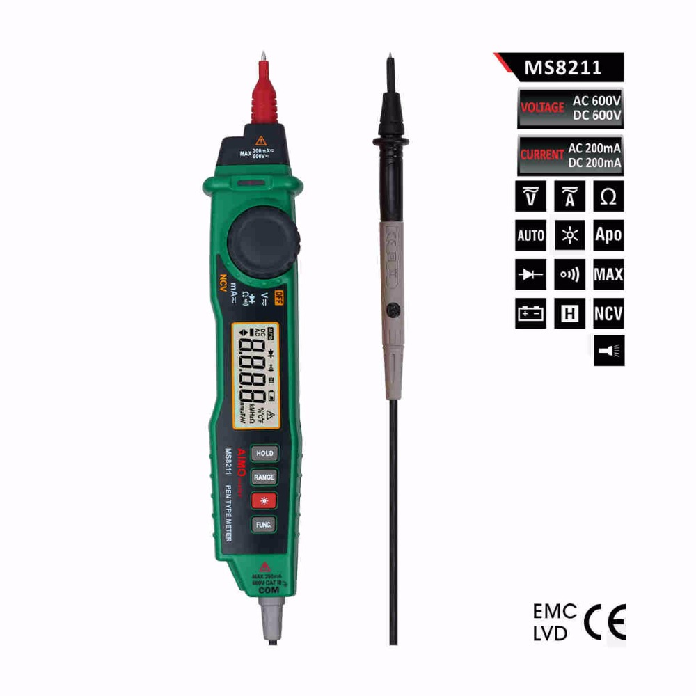 ФОТО Aimometer Ms8211 2000 Counts Auto Range Pen Type Digital Multimeter With Back Light and NCV Detector
