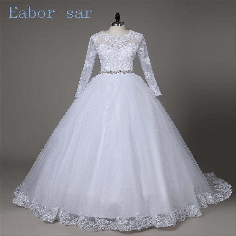 National retro lace long sleeved wedding Bateau half length pearl chiffon princess ball dress cheap bride