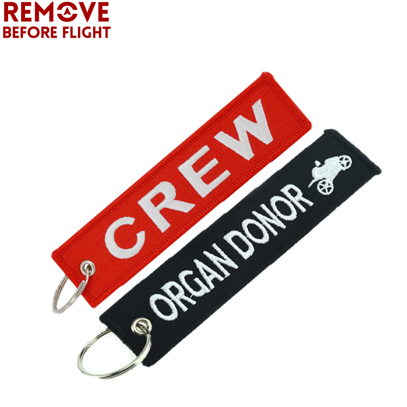 Color Name: 1 PC Key Rings Remove Before Flight Black Key Chain Tag Organ Donor Keychain Holder for Motorcycle Key Ring Embroidery Aviation Gifts