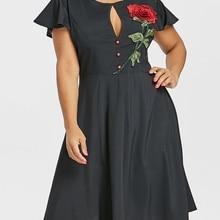 6d956f2bfb5f4d Gamiss Plus Size Wzrosła Haftowane Przyciski Sukienka Motyl Rękawem O Neck  Wysoka Talia Suknie 2018 Vintage Party Dress Vestidos