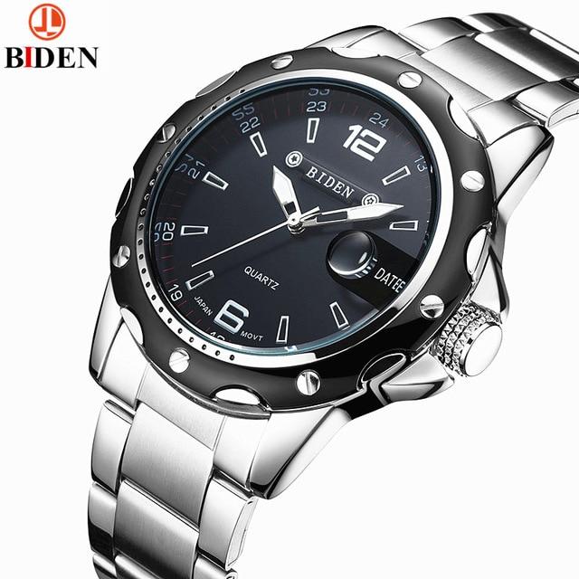 BIDEN nuevo Ultra-delgado de los hombres simples relojes impermeable moda Casual fecha reloj 3ATM cuarzo Wristatch Relogio Masculino