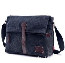 wholesale Vintage Men Canvas Messenger Bags Leather High Quality Outdoor Sport Shoulder Bags Satchel Travel Cross body Bag