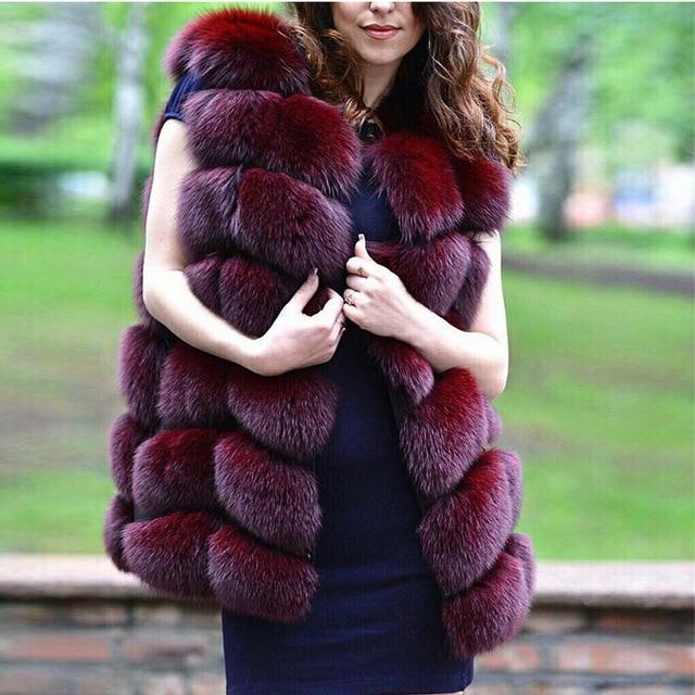 FURSARCAR Real Natural Fur Vest Women Fox Fur Coat 2019 New Luxury Female Fur Jacket Warm Thick Long Winter Fur Vest Waistcoat 2