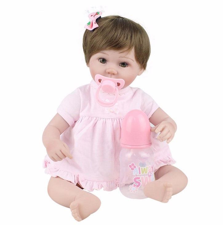 45cm Girl Silicone Dolls Baby-Reborn 18 Inches doll Body Baby Doll Vinyl Newborn Dolls Birthday Christmas Gift