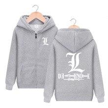 Anime Death Note L Lawliet Long Sleeve Hooded Hoodie Cosplay Costume Men  Women Casual Jacket Sweatshirt dc6c1f872