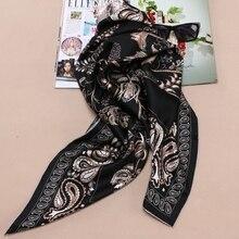 90 Silk Scarf Large Square Silk Twill Scarfs Shawl Foulard Head Scarves for Hair Wrapping Hijab