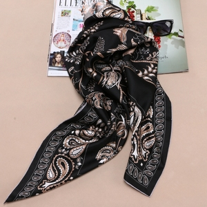 Image 1 - 90 Silk Scarf Large Square Silk Twill Scarfs Shawl Foulard Head Scarves for Hair Wrapping Hijab