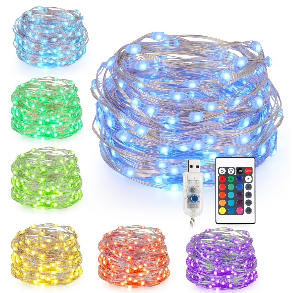 16 Color 5M 50leds LED String Lights USB Powered Multi Color Changing Led String Waterproof Light With Remote Control Decorative