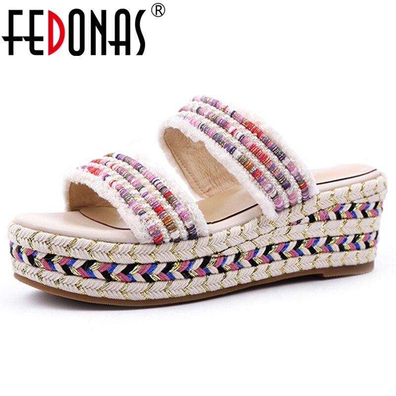 Fedonas 2019 새로운 도착 패션 라운드 발가락 여성 샌들 얕은 플랫폼 캐주얼 신발 여름 달콤한 간결한 기본 신발 여자-에서하이힐부터 신발 의  그룹 1
