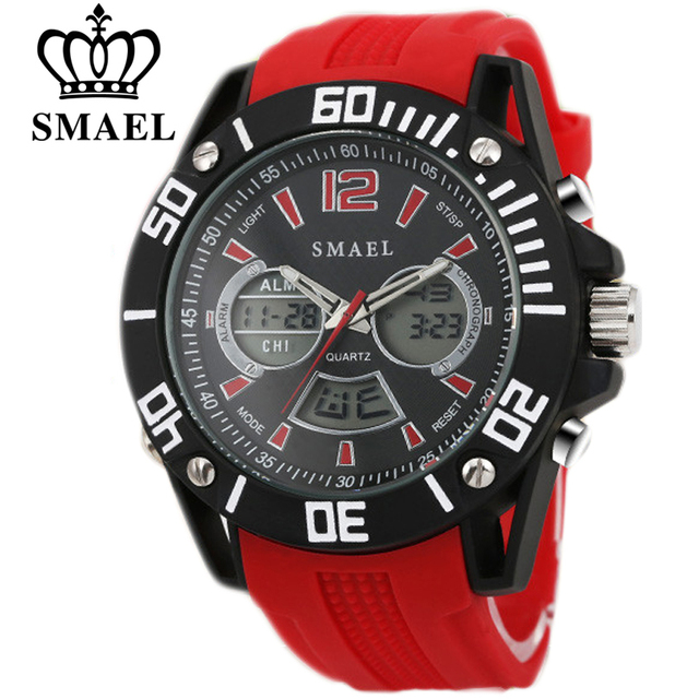SMAEL Casual Watches LED Digital Quartz Watch Man Analog Digital Gift Clocks Male Watch Men Alloy Waterproof Wristwatch Relogio