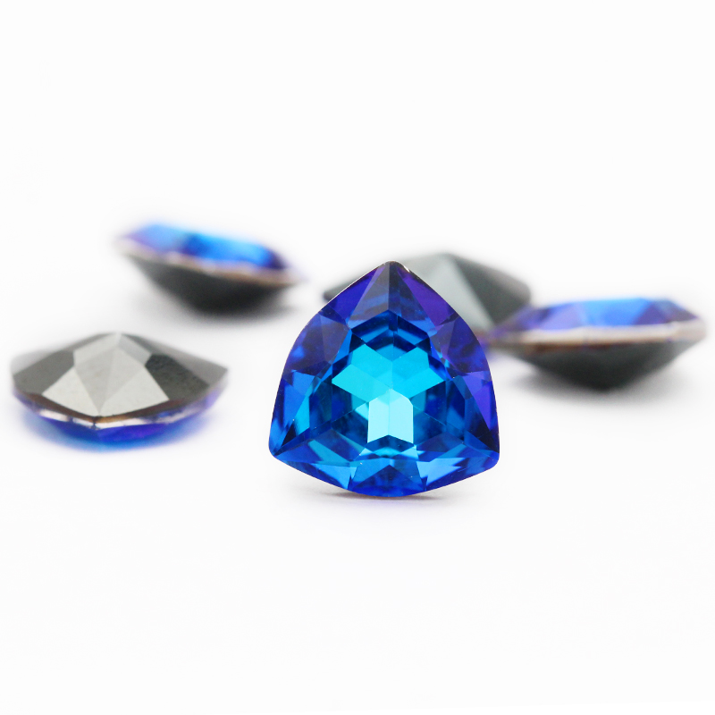 25Pcs Blue Turquoise Charms Faceted Teardrop Rhinestone FlatBack 8x12mm