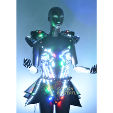 LDE Illuminated Clothing Luminous Dresses Suits Glowing Light Gem Costumes Women Ballroom Dance Dress Performance Dress