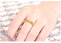 Новые однотонные 24 К желтого золота бамбука кольца диапазона США Размер 5