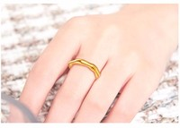 New Pure 24K Yellow gold Bamboo Ring Band Us size 5