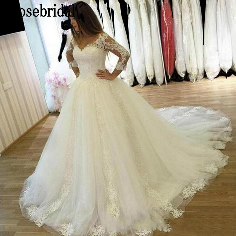 Erosebridal Ball Gown Wedding Dress Long Sleeve 2018 Plus Size Lace V Neck robe de mariee with Chaple Train Real Image