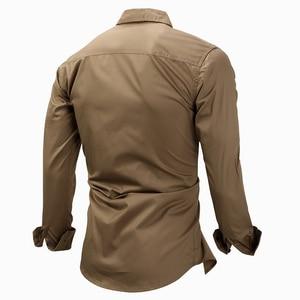 Image 3 - MAGCOMSEN erkek gömlek sonbahar uzun kollu pamuk kargo gömlek rahat elbise gömlek erkekler askeri ordu taktik kentsel iş gömlekleri