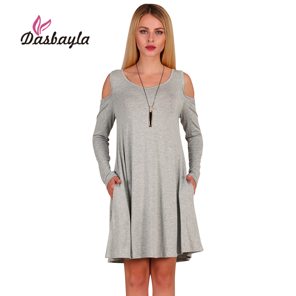 15e3b404aa3d Dasbayla Spring Women Loose fit Dress With Pockets 2018 Off The Shoulder  Tunic Top Swing T Shirt Dress Long sleeve A Line S XL-in Dresses from  Women s ...