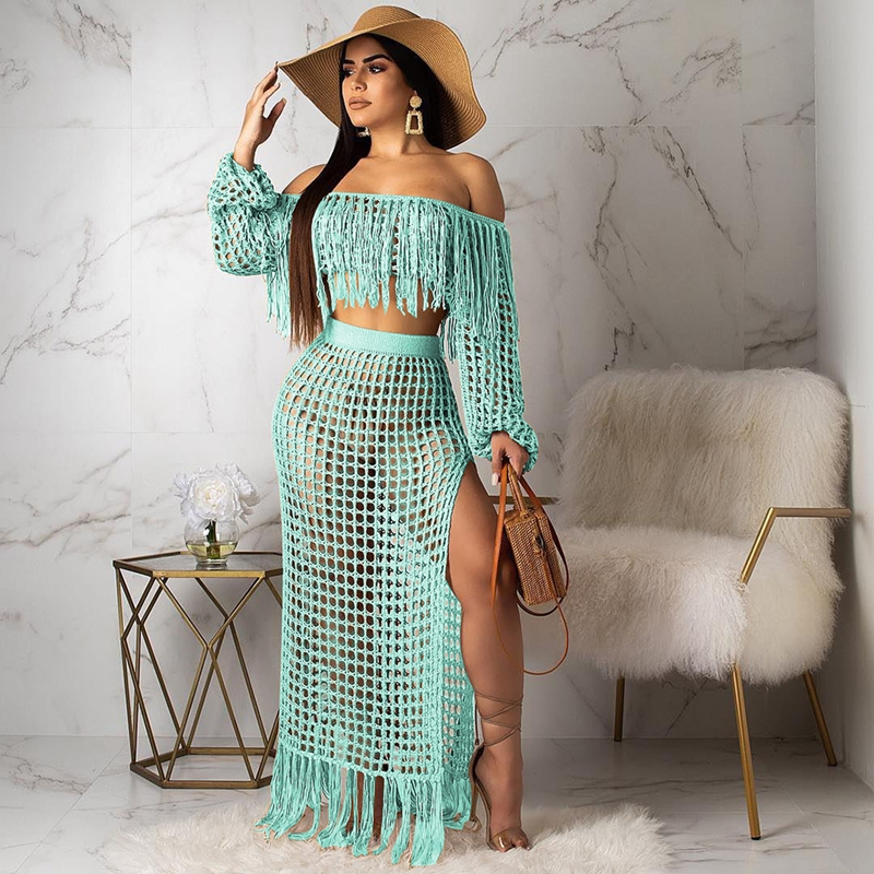 Fringed Tassel Summer Beach Dress Women Sexy Off Shoulder Maxi Dress Long Sleeve Boho Knit Crochet Hollow Out Party Long Dress