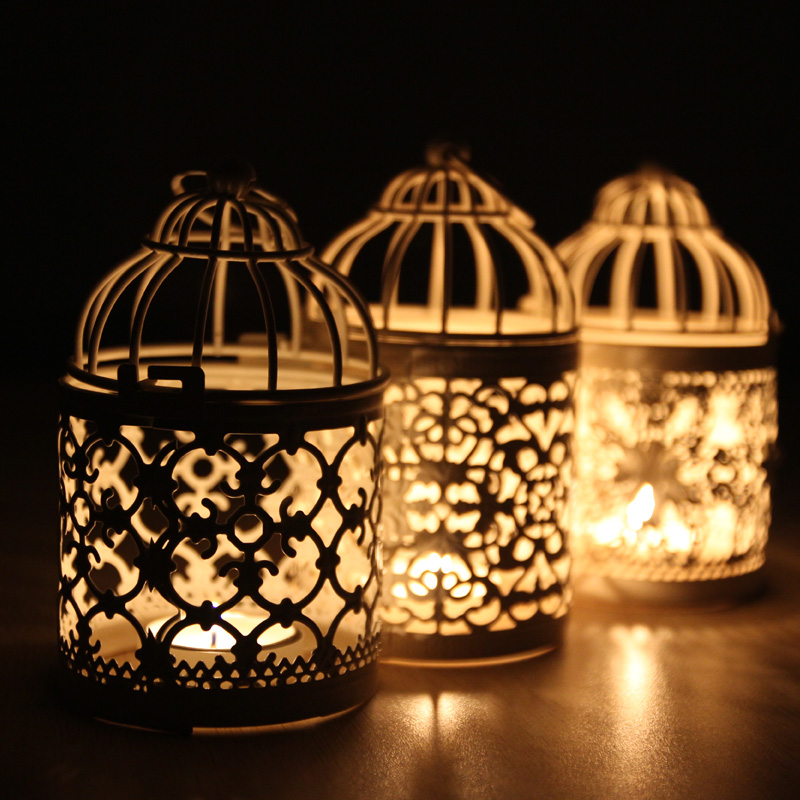 Zakka Romantic Hollow Birdcage Candle Holder Metal Candlestick