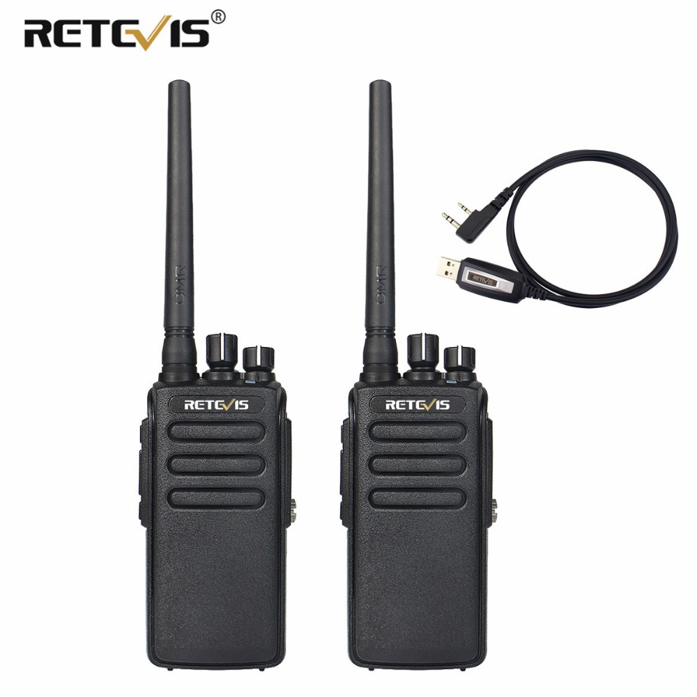 2 pcs Retevis RT81 10 W Walkie Talkie DMR Digitale Radio IP67 Impermeabile UHF 400-470 Mhz VOX Criptato a lungo Raggio 2 Way Radio + Cavo