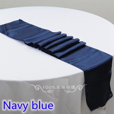 Navy Blue Colour Table Runner Satin Shiny Colour Table Decoration Wedding Hotel Party Show Table Runner Cheap