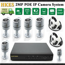 8CH 1080P POE NVR Equipment with 1080P Fisheye 1.7mm POE IP Cam and Outside Waterproof IR Bullet Safety PoE CCTV System Surveillance