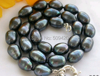 Free Shipping>>>17 15mm black rice freshwater pearl necklace
