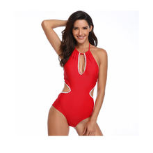 One Piece Swimsuit Women 2019 Summer Beachwear Lace One Shoulder Swimwear Bathing Suits Red Monokini Swimsuit цена 2017