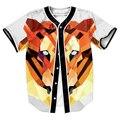 Tigre Poli Jersey con botones de camisas de Los Hombres 3d impresión overshirt tops Streetwear Tees Verano estilo casual trajes