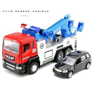 Image 2 - Legering Tow Truck Set #5009 1 (1 Truck Plus 1 Kleinere Auto) gegoten Auto Hoofd Autolichten & Geluid Functie Speelgoed
