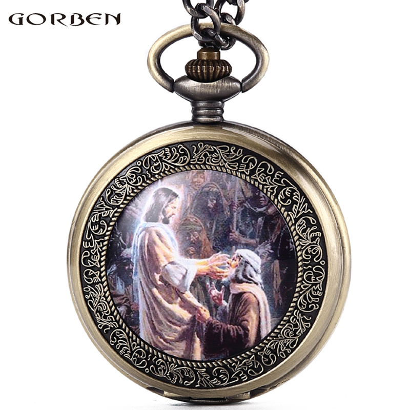 God's Son Jesus People Worship Quartz Pocket Watch Roman Numerals Dial Christian Retro Men Women Watches Fob Chain Necklace retro roman numerals skeleton smooth sliver black mechanical pocket watch pendant men women with chain fob watches tjx050